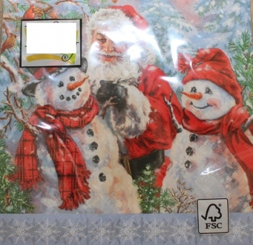 Serviette santa with snowmen