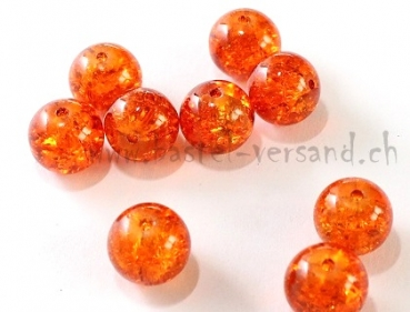 Glasperle Crackle 12mm orange