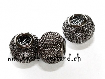 Metall Netzperle 12mm anthrazit