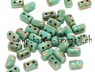 Rulla 3 x 5mm Turquoise silver picasso