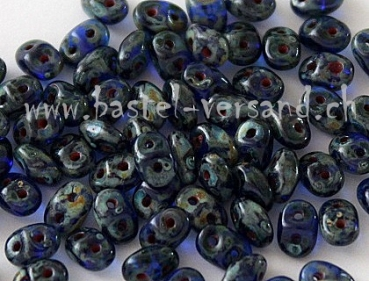 SuperDuo 2 x 5mm cobalt picasso