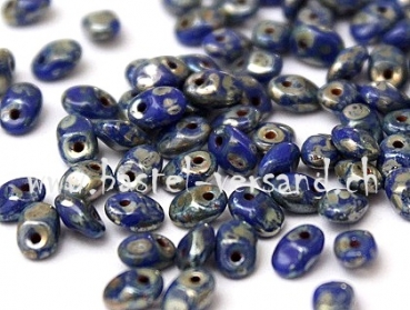 SuperUno 2 x 5mm opaque navy silver picasso