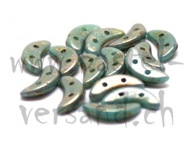 Crescent 2 x 10mm turquoise bronze picasso