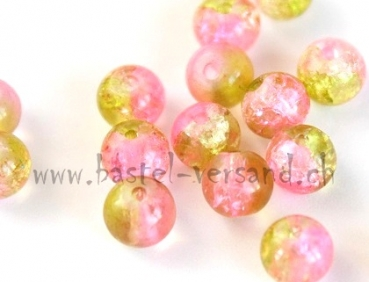 Crackle 6mm rosa/gelb
