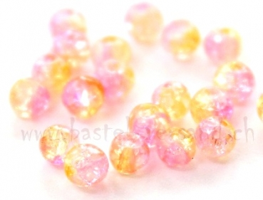 Crackle 4mm rosa/gelb