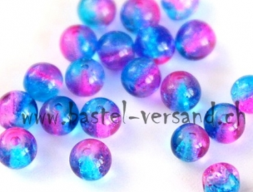 Crackle 4mm blau/pink