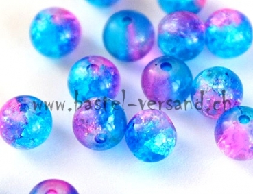 Crackle 6mm blau/pink