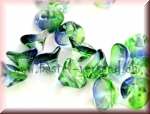 Three Petal Flower 12 x 10mm dual coated blueberry green
