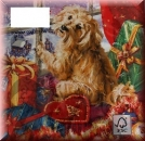 Serviette dog with christmas gifts